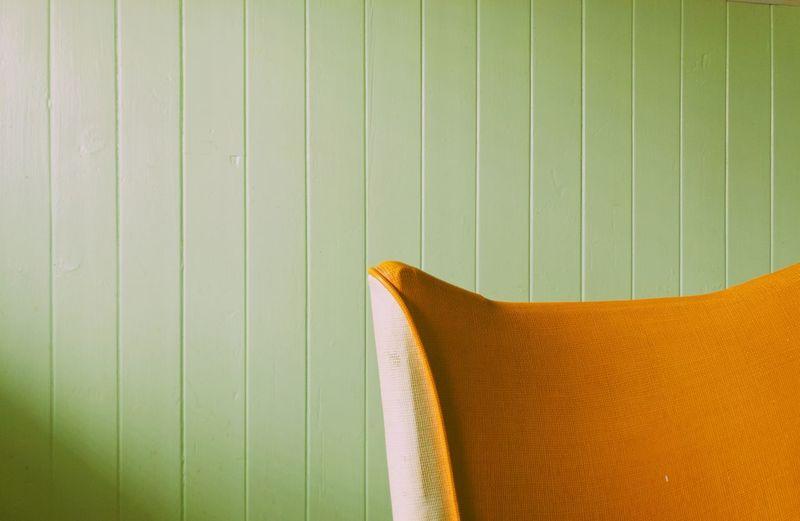 Orange Sofa Against Wall