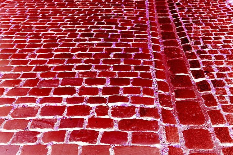 Cobblestone Pavement Red Full Frame Backgrounds Pattern No People Close-up Day Arrangement High Angle View Textured  Still Life Repetition