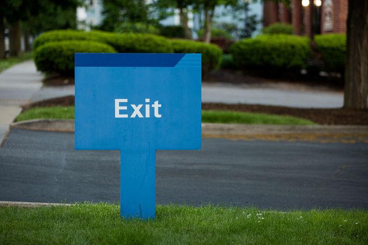 Exit sign at roadside