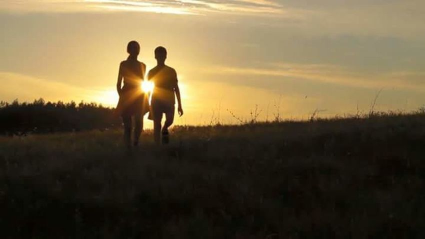 Be. Ready. Sunset Silhouette Nature Walking Grass Togetherness Men People Two People Rural Scene Field Sunlight Outdoors Sky Bonding Beauty In Nature YOLO ✌ Enjoying Life ♥ Freedom