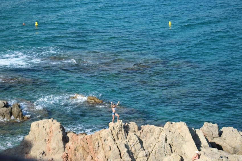 Sea Water Real People Nature Day Standing Wave One Person Outdoors Blue Men Beauty In Nature Beach People Gironamenamora Lloret De Mar Costa Brava