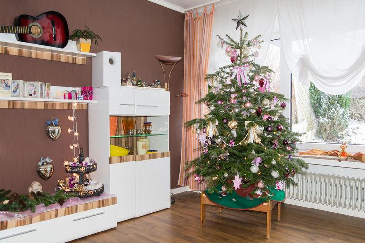 Christmas tree on hardwood floor at home