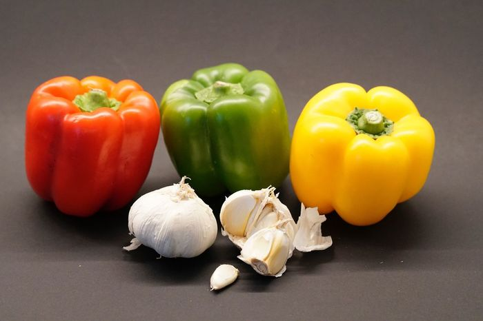 Still Life Vegetable Food Food And Drink Healthy Eating Freshness Bell Pepper Red Bell Pepper Studio Shot No People Raw Food Close-up Table Indoors  Black Background Day