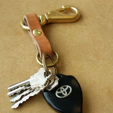 Leather Handmade Americanmade Rugged heavyduty keys brass keychain