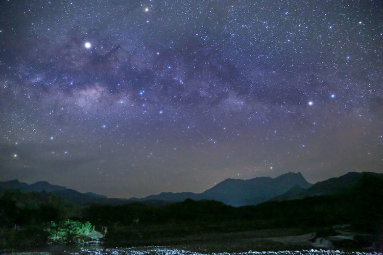 Sky Scenics - Nature Mountain Beauty In Nature Tranquility Star - Space Night Tranquil Scene Nature Water No People Space Astronomy Mountain Range Outdoors Lake Galaxy Idyllic Star