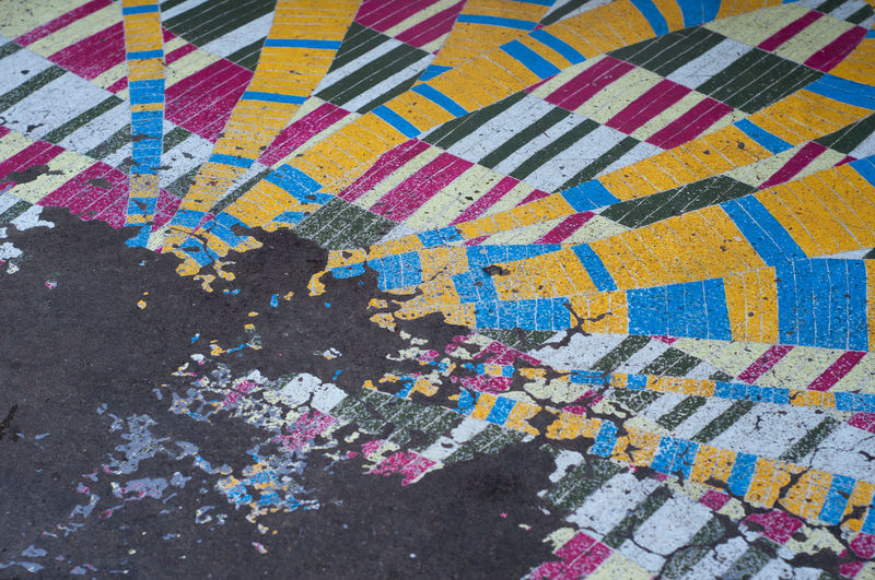 High angle view of multi colored pattern on street