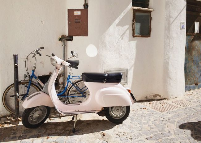 Transportation Mode Of Transport Land Vehicle Parking Bicycle Parked Road House Roadside Footpath Piaggo Scooter Italy White Ischia RENT Holiday Color Street Small Old Town Italian