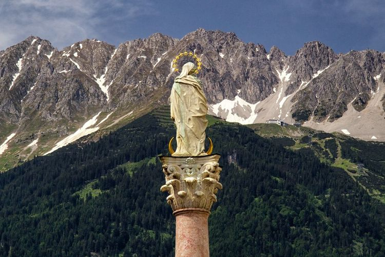 Low angle view of anna column against mountains