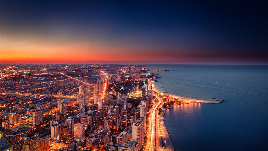 Chicago skyline Cityscape Night Lights Skyline Aerial View Architecture Building Exterior Built Structure City Cityscape High Angle View Night No People Sunset Travel Destinations Water Waterfront