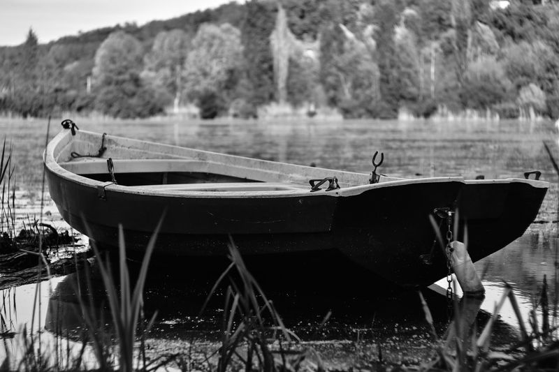 Boats moored on shore by lake
