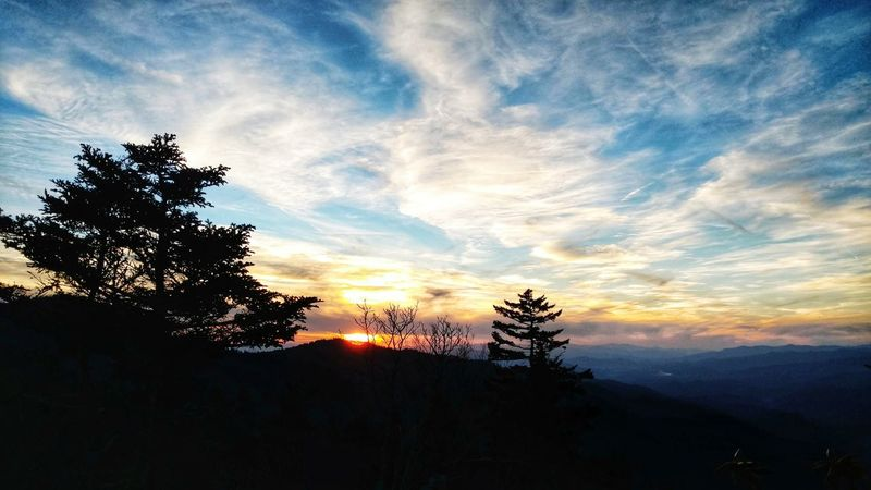 Sunset in the Smokie Mountains! Water Rock Knob, NC Smokey Mountains, NC Fall In The Mountains 2017 Silhouette Beauty In Nature Outdoors Multi Colored Mountain Range Background Tranquility Landscape Multi-layered Effect Multi Coloured Scenics Blue Sky And White Clouds Cloud Formations EyeEm Gallery EyeEm Best Shots Trees And Sky Cell Phone Photography