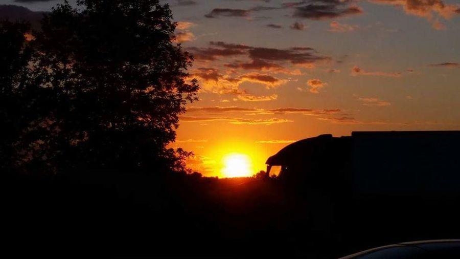 Sunset with feature Sunset #sun #clouds #skylovers #sky #nature #beautifulinnature #naturalbeauty #photography #landscape Transport truck