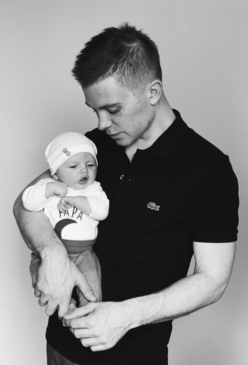 Love Togetherness Two People Indoors  Men Adult Positive Emotion Fatherhood Moments Father Son Father & Son Black And White Newborn Small Baby Baby Boy Young Father Baby Babyhood Family