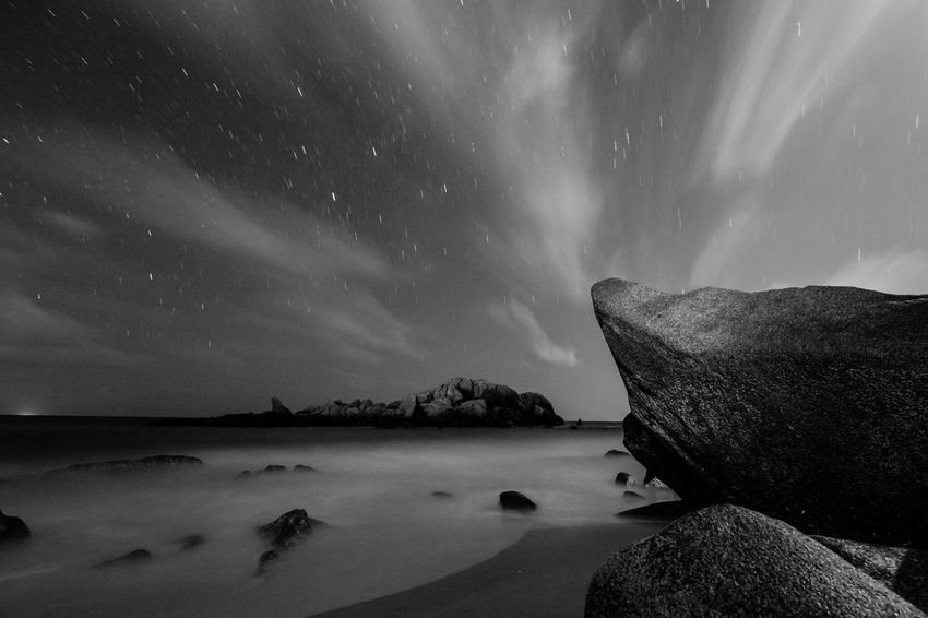 Astronomy Beauty In Nature Blackandwhite Blurred Motion Cold Temperature Giantrocks Landscape Long Exposure Milkyway Monochrome Nature Night Nightphotography Scenics Sea Sea And Sky Sky Space And Astronomy Star - Space Tourism Tourist Attraction  Tourist Destination Travel Destinations Water Winter