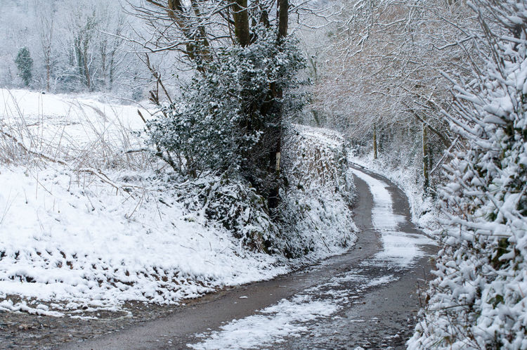 Icy Road Road Winter Backroad Beauty In Nature Cold Cold Temperature Cornwall Farm Track Frozen Icy No People Snow Tranquil Scene White Color