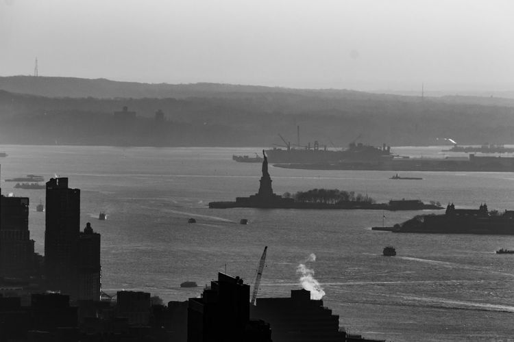 Architecture Built Structure Sky Building Exterior Lady Liberty Nature Water No People Day Transportation City Nautical Vessel Building Mode Of Transportation Travel Destinations Silhouette Outdoors Sea Travel Cityscape