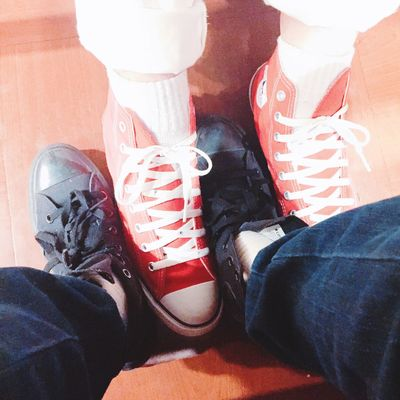 Converse Shoes Black Red