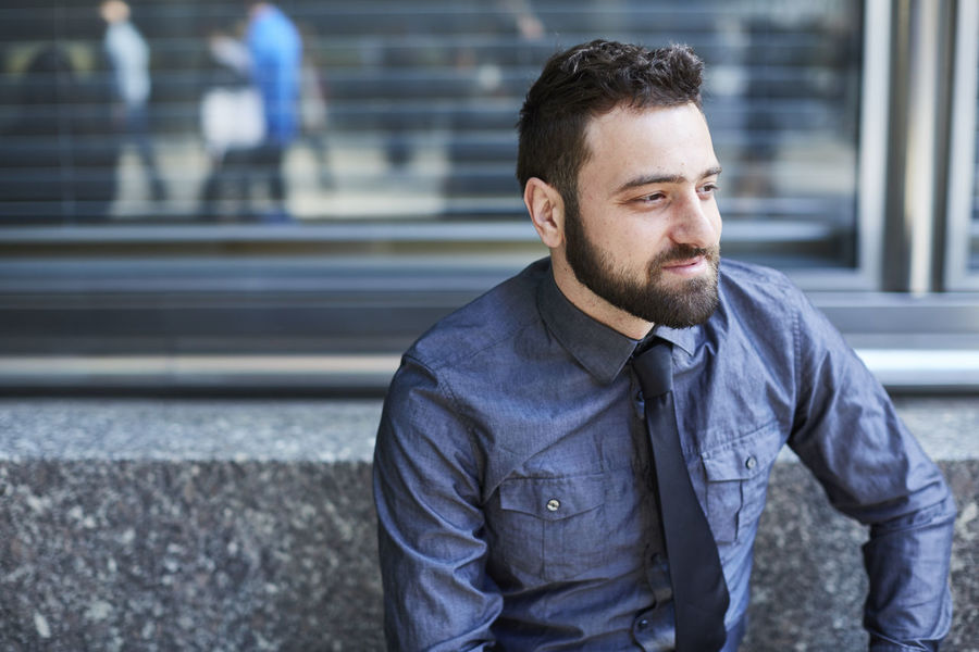 Beard Bench Blue Brazilian Business Business Man Confidence  Day Entrepreneur Finance Handsome Looking Away Man Portrait Sitting Smiling Start Up Technology Urban Well-dressed Young Man
