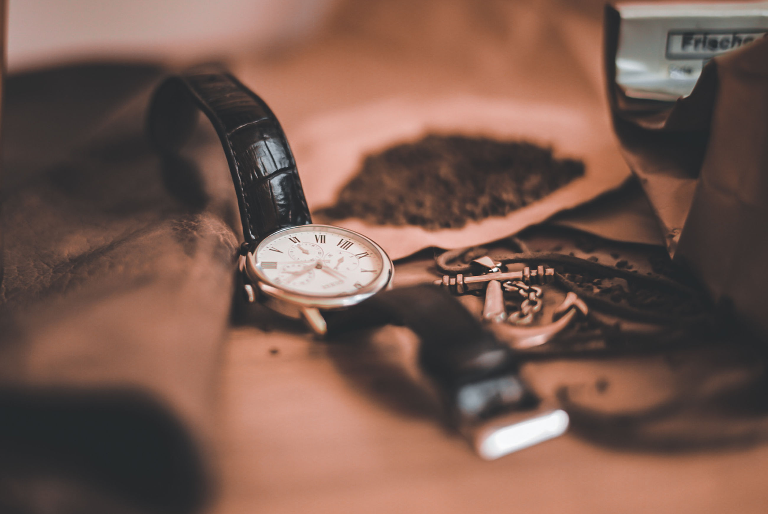 black, watch, clock, hand, indoors, time, glasses, selective focus, close-up, brown, wristwatch, white, table, still life