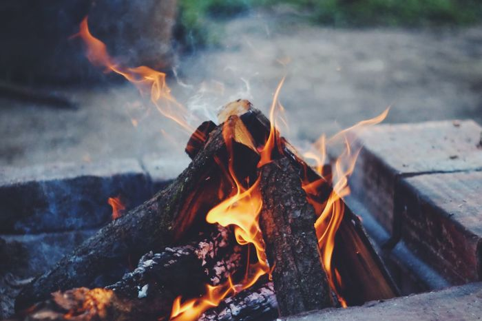 Flame Burning Fire - Natural Phenomenon Heat - Temperature Glowing No People Motion Bonfire Smoke - Physical Structure Outdoors Close-up Ash Fire Pit Night The Week On EyeEm