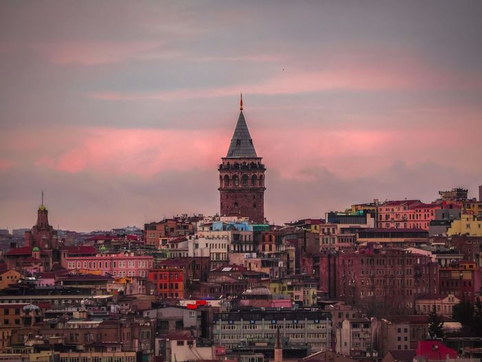 Galata tower and red clouds