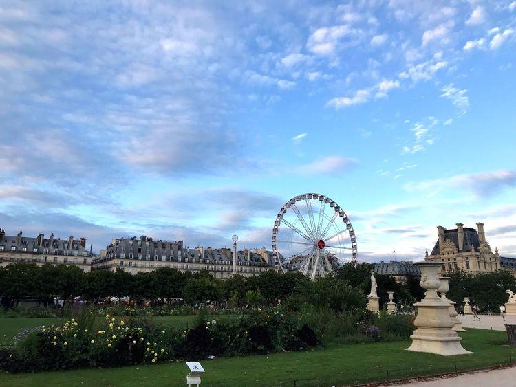I love Paris Sky Cloud - Sky Ferris Wheel Built Structure Architecture Park Arts Culture And Entertainment Travel Destinations No People