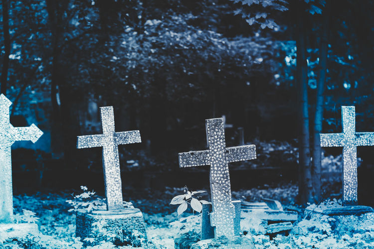 Crosses on at cemetery