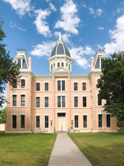 Presidio County Courthouse Architecture Pink Texas Marfa Courthouse Building Exterior Built Structure Architecture Building Sky Cloud - Sky Plant Travel Destinations