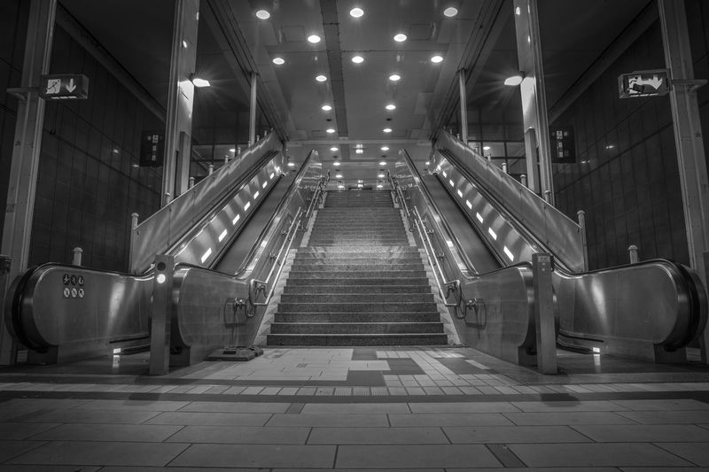 View of escalator in building