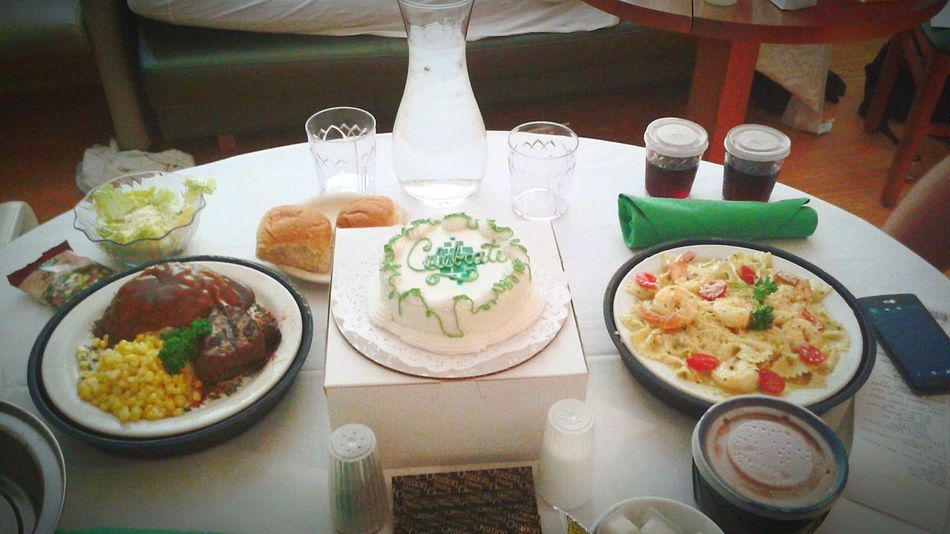 Celebrating Day Of Birth Celebrating Baby Dinner For Two Celebration Meal For Baby Cake Dinner Rolls Shrimp Scampi Salad Corn Steaks