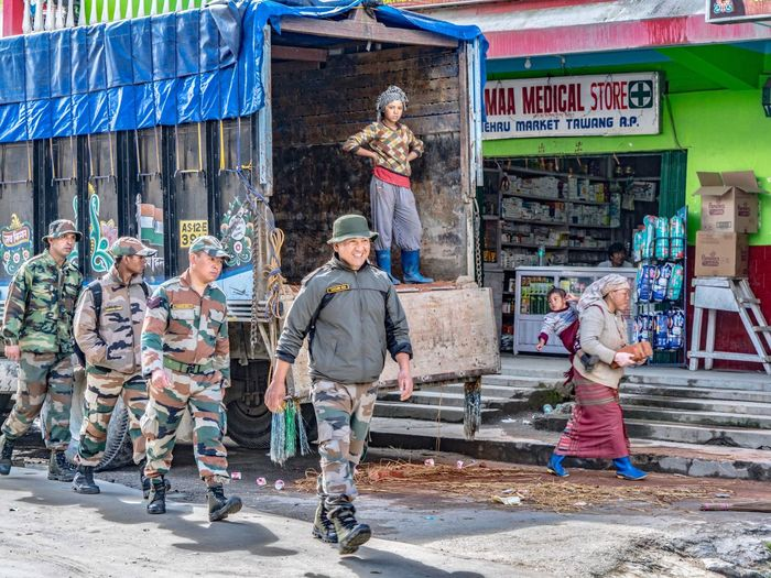 Streetphotography Street Photography Street Full Length Outdoors Day Built Structure People Architecture Building Exterior Tawang Portrait India Arunachal Pradesh ArunachalPradesh Tibet Tibetan  Military Lifestyles Streetphoto_color Adult Men City Adults Only Young Adult EyeEmNewHere Connected By Travel