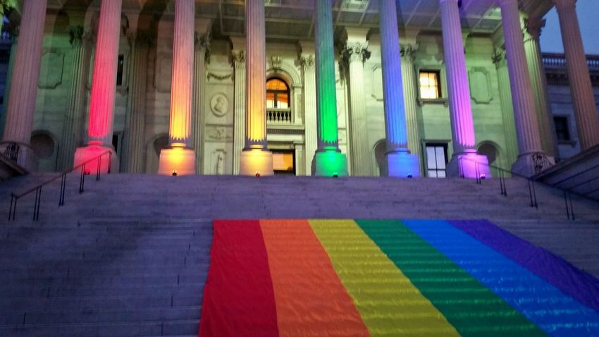 Remembering the massacre at Pulse Orlando (6/12/16 - 1/18) HonorThemWithAction Lovealwayswins - The Photojournalist - 2017 EyeEm Awards Multi Colored Window Architectural Column Architecture Built Structure No People Building Building Exterior Illuminated Lights Light And Shadow Night Lights Dusk Dusk In The City City Urban Urban Geometry Urban Landscape Landscape Landscape_Collection Flag Pride Flag