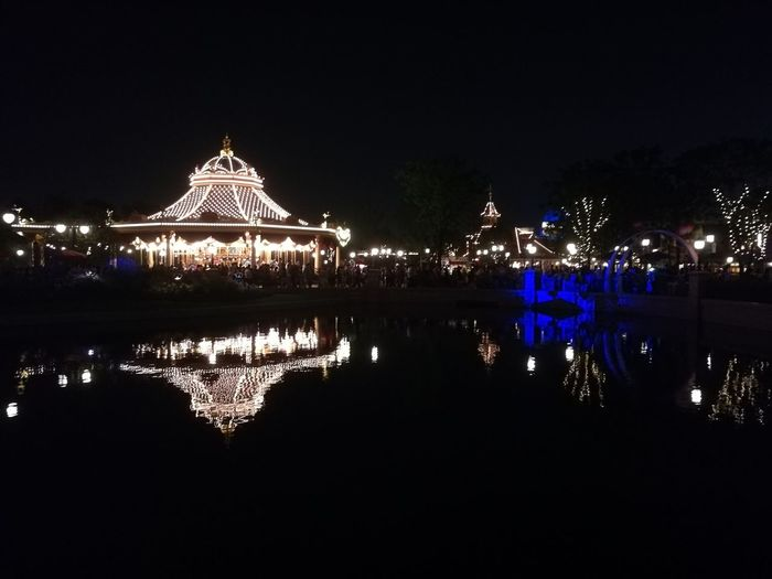 Disneyland in night Reflection Travel Destinations Water Night Outdoors Illuminated Sky No People Architecture