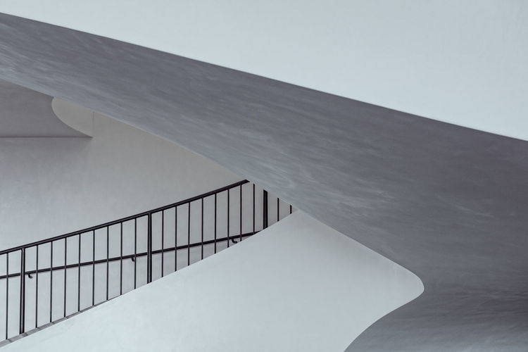 Low angle view of railing in building