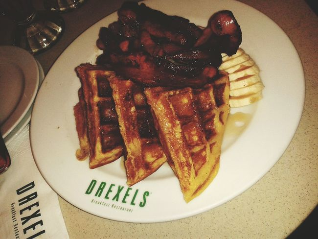 Drexels - Waffle with bacon, banana & maple syrup! Breakfast Hangover Cure Tea Or Coffee French Breakfast Bacon Explosion Followback Followforfollow Check This Out Follow4follow Followers Needed