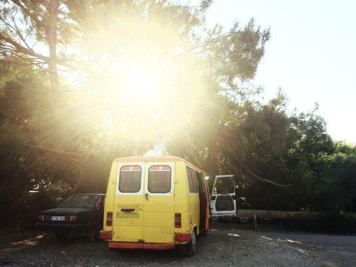 Yellow Car Summer Evening Sun Sunset