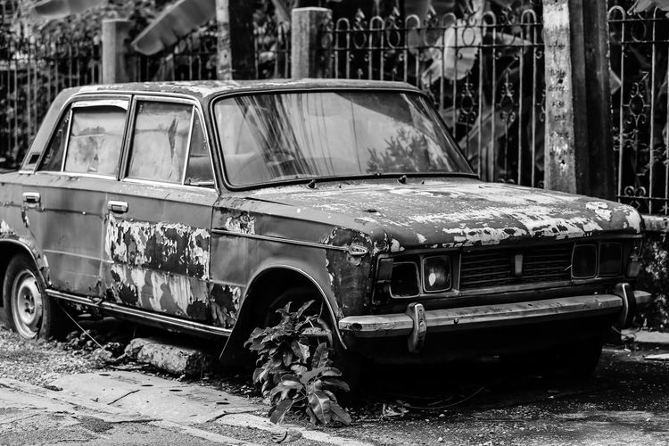 Abandoned Bad Condition Car Damaged Day Destruction Land Vehicle Mode Of Transport No People Outdoors Transportation