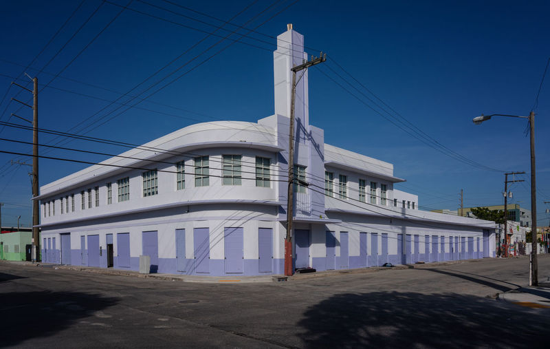 Wynwood, Miami architecture Built Structure Architecture Building Exterior Sky Cable Building Power Line  City Street Clear Sky Road Miami Wynwood Homeless Homeless People Florida Art Deco Art Deco Architecture Colourful Blue Day Sunlight Empty