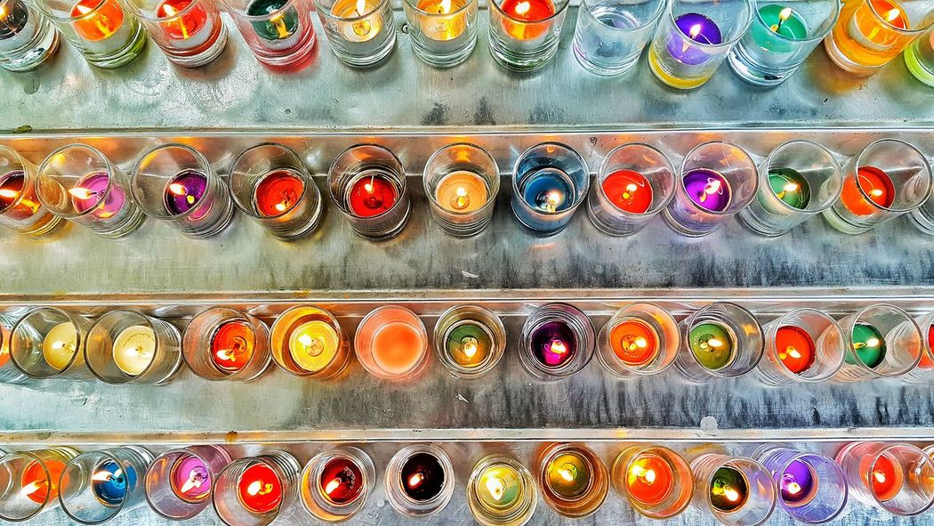 Eyeem Philippines Candles Candlelight Colorful Lights Colours Colors Aligned Formation Forms Showcase June Art Is Everywhere