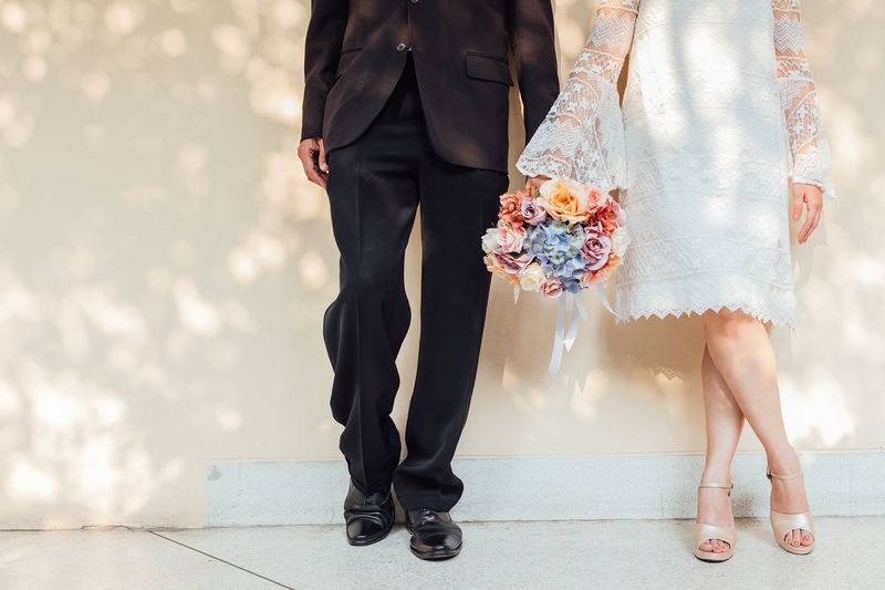 Low section of couple during wedding