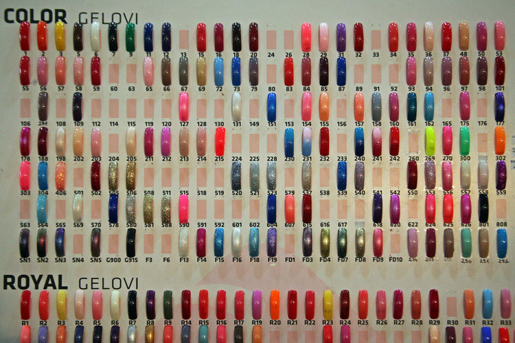 Days of Beauty and Fitness,nails styling colours,Zagreb,Croatia,Europe,5 2017. Backgrounds Close-up Colourful Colours Craft Craftmanship Croatia Days Of Beauty And Fitness Eu Europe Fair Fashion Indoors  Materials Nail Styling Nails No People Picturesque Variation Zagreb