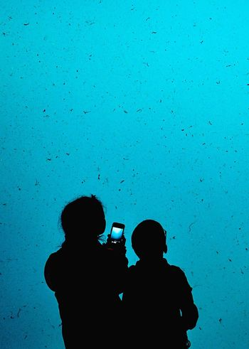 The Wonders Around Us Two People Silhouette Photography Themes Togetherness Wireless Technology People Blue Childhood Mobile Phone Wonders Water Aquarium In Awe Watching Nothingness Close-up Be. Ready.