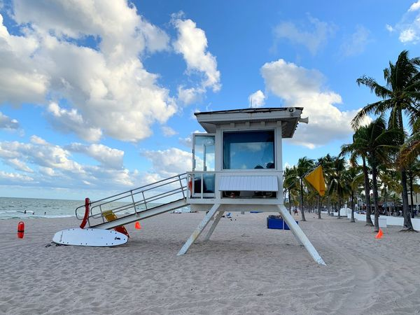 Lifeguard Stand on Ft. Lauderdale beach Sandy Beach Sand Beach Life Sky Cloud - Sky Beach Land Built Structure Water Nature Outdoors