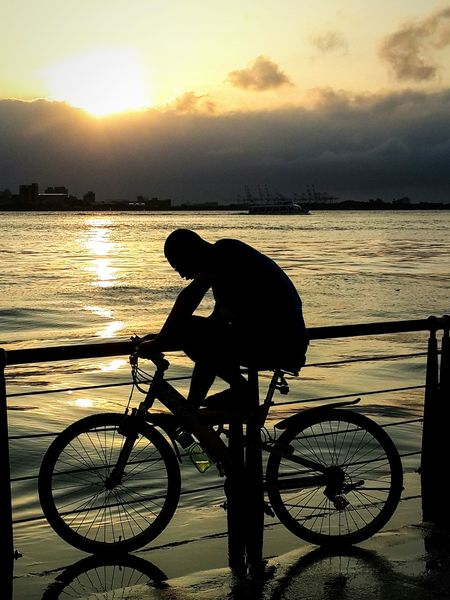 Bicycle Side View Silhouette Sunset Nature Starting A Good Day Photograph