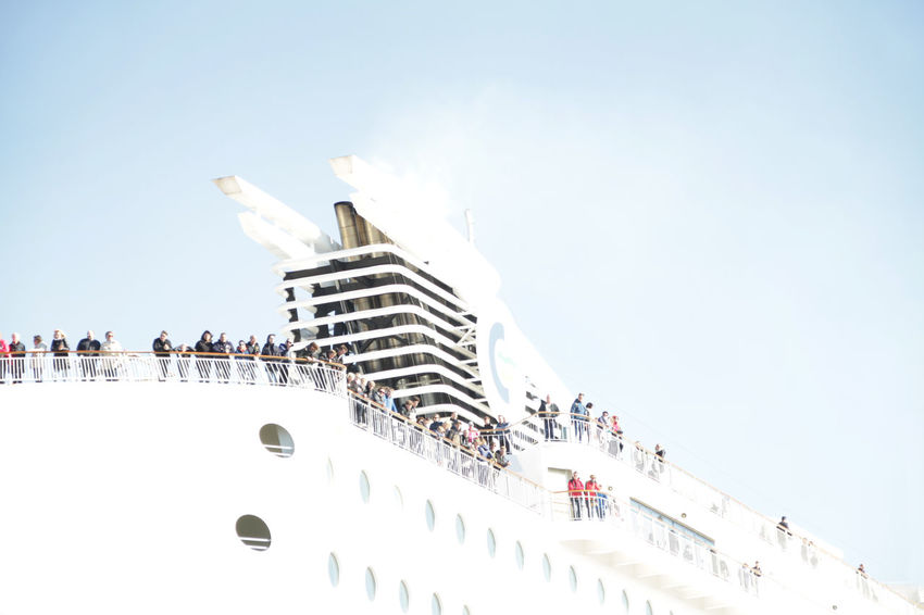 Adventure Clear Sky Crowd Cruise Day Ferry Ferryboat Fine Art Photography Kiel Large Group Of People Low Angle View Low Angle View Enjoyment Outdoors Passagiere People Watching Port Of Kiel Seereisen Sky Travel Destinations Urlaub Welcome White Color Line
