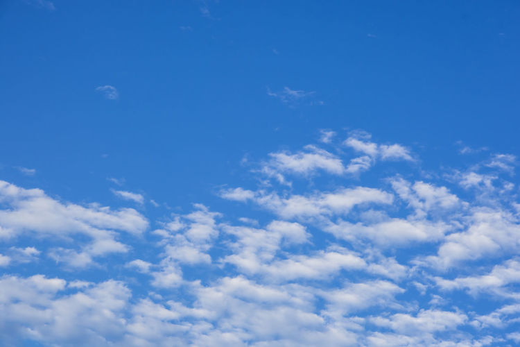 Blue sky and clouds Backgrounds Beauty In Nature Blue Cloud - Sky Day Full Frame Low Angle View Nature No People Outdoors Scenics Sky Sky Only Tranquil Scene Tranquility