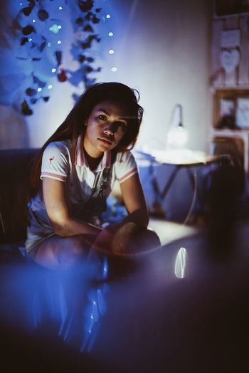 Eyeem Philippines EyeEmNewHere Night Lights Art Sitting Indoors  One Person Smiling Real People Happiness Beautiful Woman Young Adult People