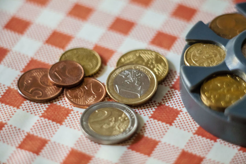 Euro coins on the table Money Money Money Close-up Coin Coins Coins On The Table Currency Day Euro Europe Finance High Angle View Indoors  Metal Money Multi Colored No People Savings Still Life Table Wealth Pet Portraits