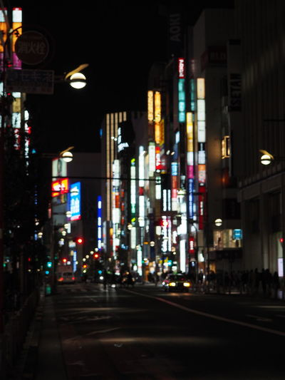 Architecture Building Exterior Built Structure City Illuminated Japan Neon Sign Night No People Outdoors Road Signs Street Tokyo
