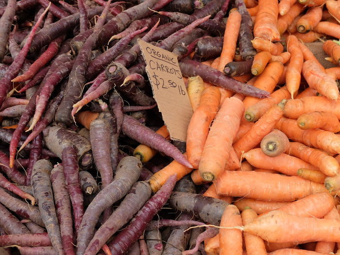 High Angle View Of Carrot For Sale At Market Stall